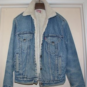 Levi's Blue Denim and Sherpa Lined Jacket